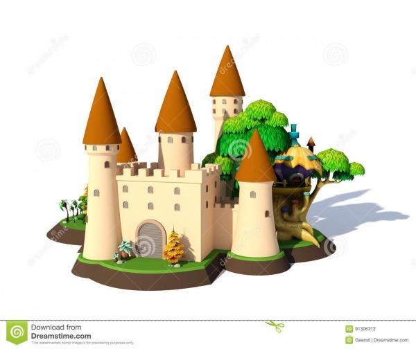 Castelo Medieval Dos Desenhos Animados Isométricos Da Fantasia 3d