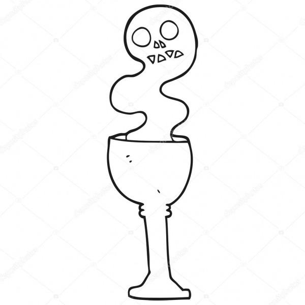 Cálice De Halloween Assustador Desenho Preto E Branco — Vetor De