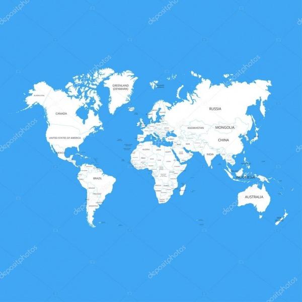 Mapa Mundo Com Nomes De Países  Ilustração Vetorial — Vetor De