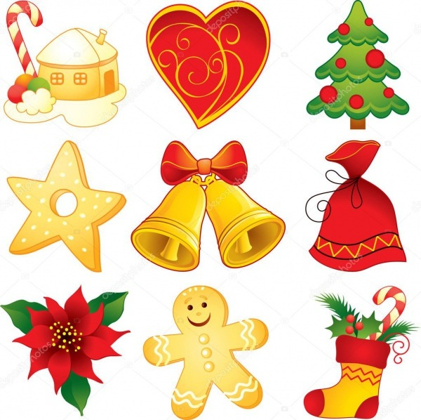 Conjunto De Símbolos De Natal — Vetor De Stock © Artanika  12148899