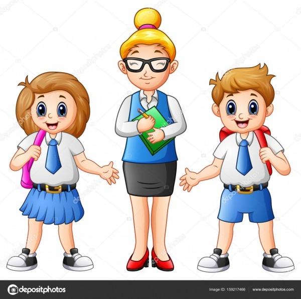 Professora De Desenho Animado E Estudantes Em Uniforme Escolar