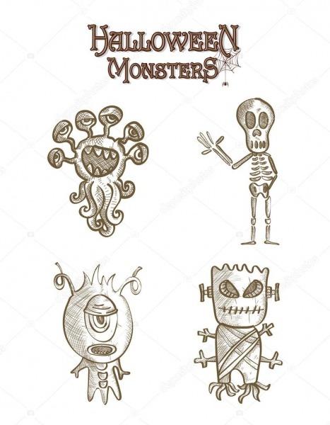 Monstros De Halloween Assustadoras Esboçar Arquivo De Eps10