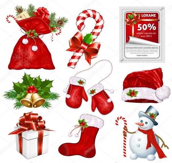 Símbolos Tradicionais Do Natal — Vetor De Stock © Ivelly  33446981