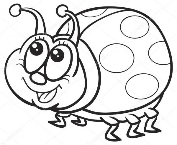 Desenho Animado Feliz Joaninha — Vetor De Stock © Kopirin  68544621