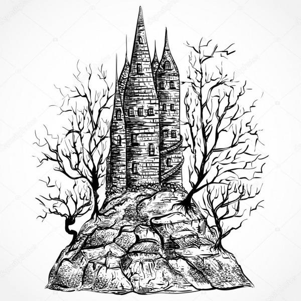 Castelo Medieval Com árvores Em Uma Rocha  Paisagem De Mão