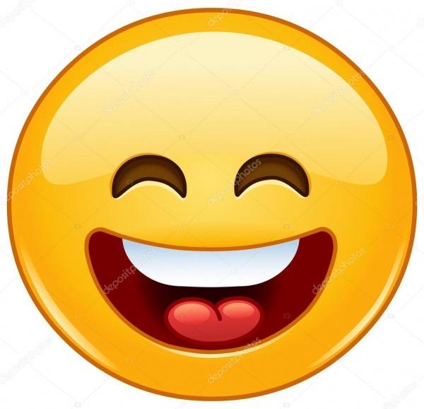 Sorrindo Emoticon Com A Boca Aberta E Olhos A Sorrir — Vetor De