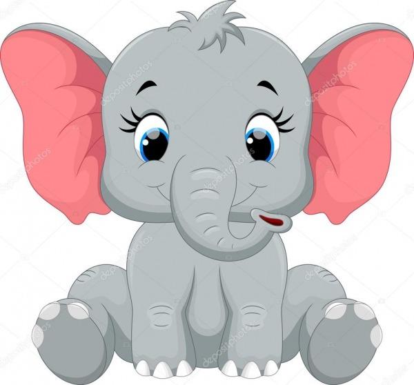 Desenho De Elefante Bebê Fofo Sentado — Vetores De Stock