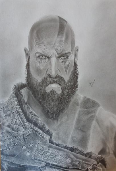 Desenho Realista Kratos