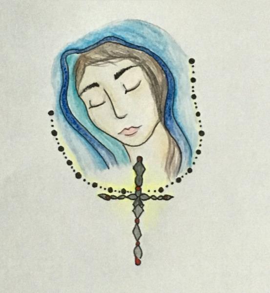 Desenho Nossa Senhora Com Terço ❤