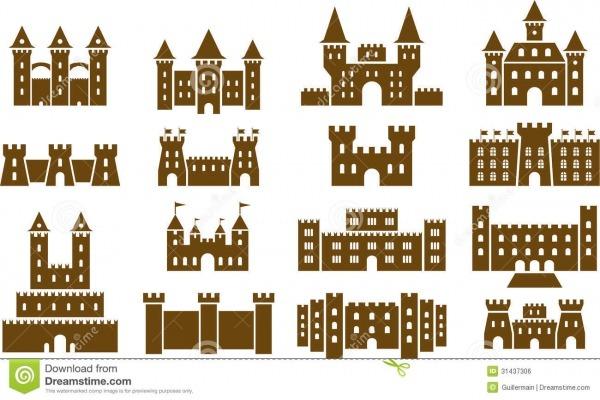 Grupo De Castelos Medievais Ilustração Do Vetor