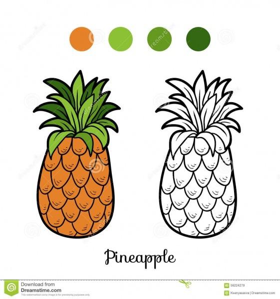 Livro Para Colorir  Frutas E Legumes (abacaxi) Ilustração Do Vetor