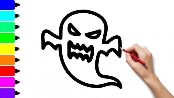 Como Desenhar E Colorir Um Fantasma
