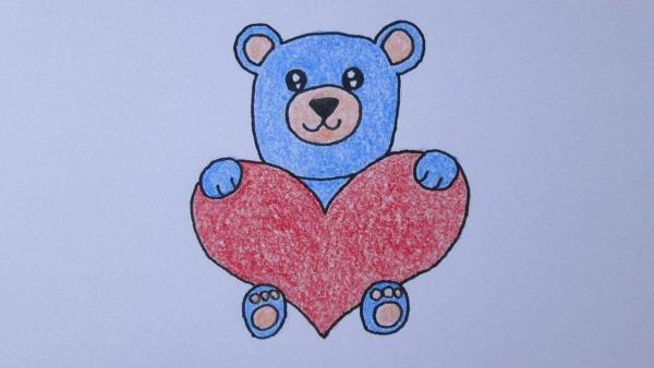 Como Desenhar Um Urso Kawaii Abraçando Um Coração