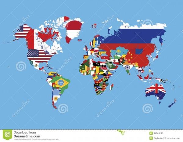 O Mapa Do Mundo Colorido Nos Países Não Embandeira Nenhum Nome