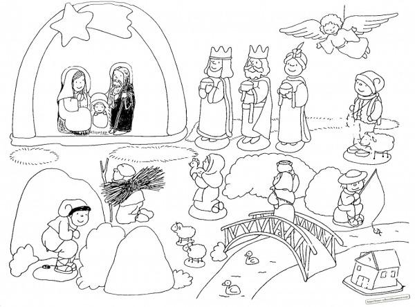Presépio Para Pintar Com Reis Magos, Anjo, Pastor, Ovelhas, Ponte