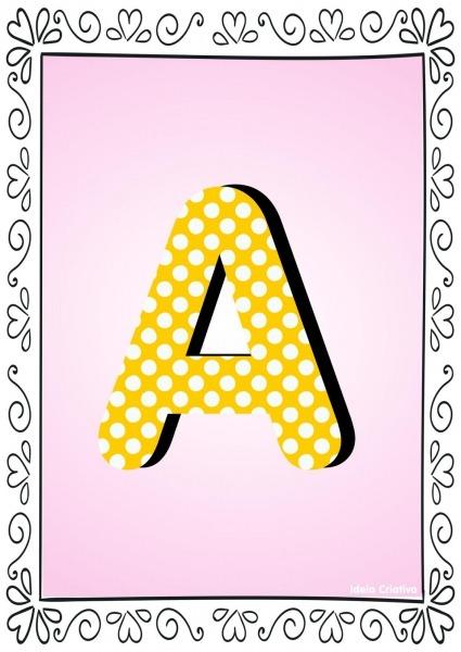 Alfabetos Ideia Criativa  Alfabeto Poá Colorido Com Borda Para