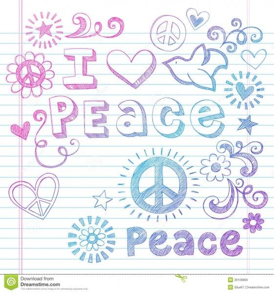 Amor Da Paz E Vetor Esboçado Dos Doodles Da Pomba Ilustração Do