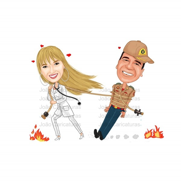 Caricatura Para Casamento Tema Bombeiro No Elo7