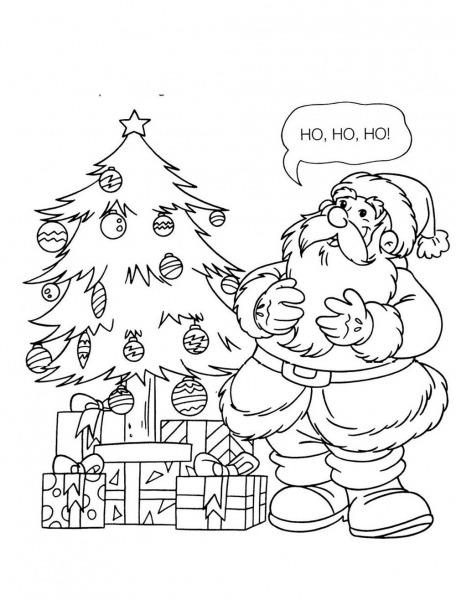 Papai Noel E Árvore De Natal Para Colorir » Imagem Legal