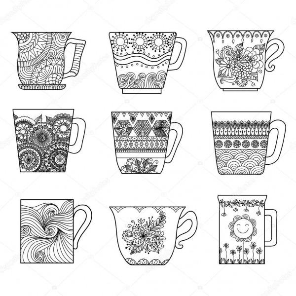 9 Xícaras De Chá Linha Arte Desenho Para Colorir Livro Para Anti