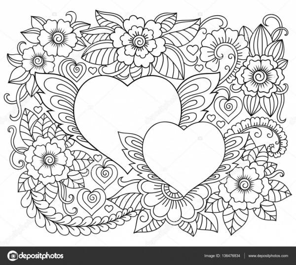 Ilustração De Flores E Coração Para Dia Dos Namorados  Teste