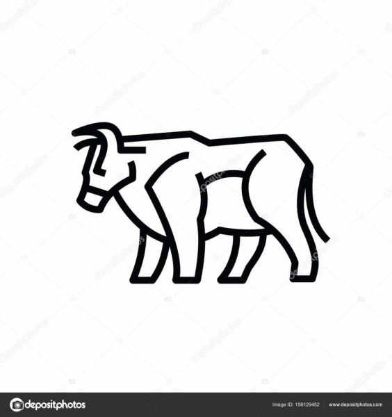 Linear Estilizado Desenho De Boi Touro Ou Vaca — Vetores De Stock