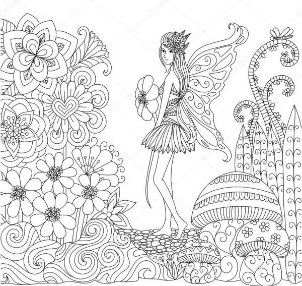 Mão De Fada Desenhada Andando Na Terra De Flores Para Colorir