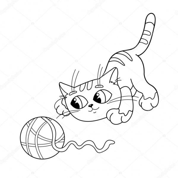Colorir Página Contorno De Gato Brincando Com Novelo De Lã — Vetor