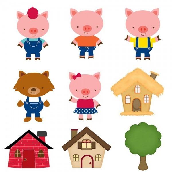 Aplique Recortado Os Três Porquinhos Ideal Para Decorações De