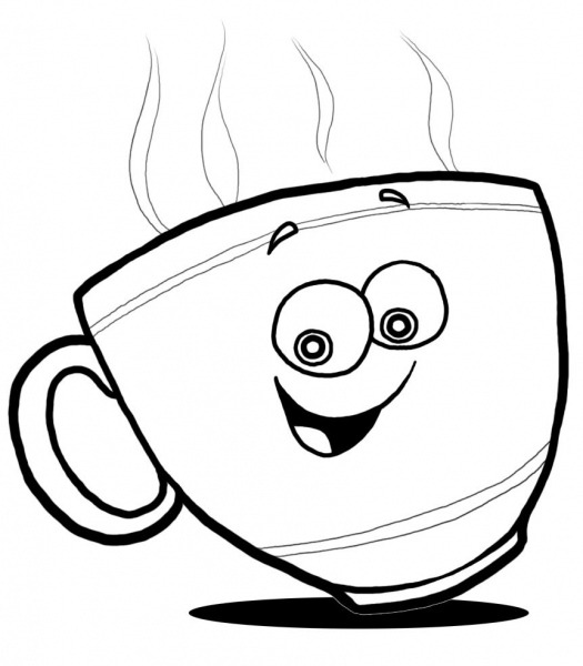 Printable Latte Cup Coloring Page