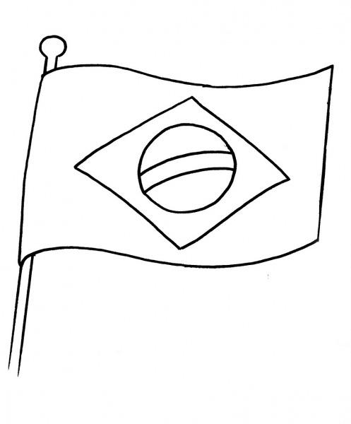 Desenho Bandeira Do Brasil Para Colorir – Pampekids Net