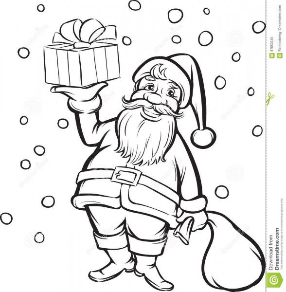 Livro Para Colorir Santa Claus Com Presente Do Natal Ilustração Do