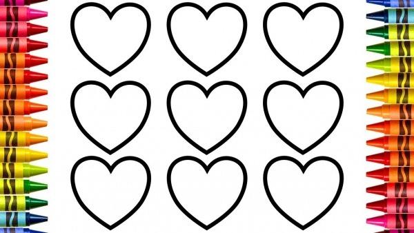 Como Desenhar E Colorir Corações, Aprender Cores, Colorir Para