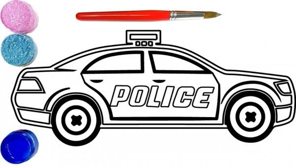 Como Desenhar E Colorir Carro Da Polícia, Desenho E Colorir Para