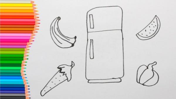 Como Desenhar E Colorir Geladeira Frutas E Verduras