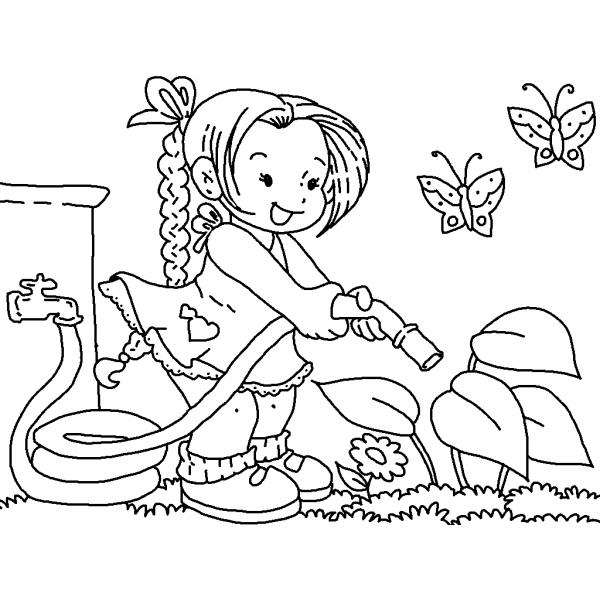 Desenho De Menina Regando Flore Com Mangueira Para Colorir