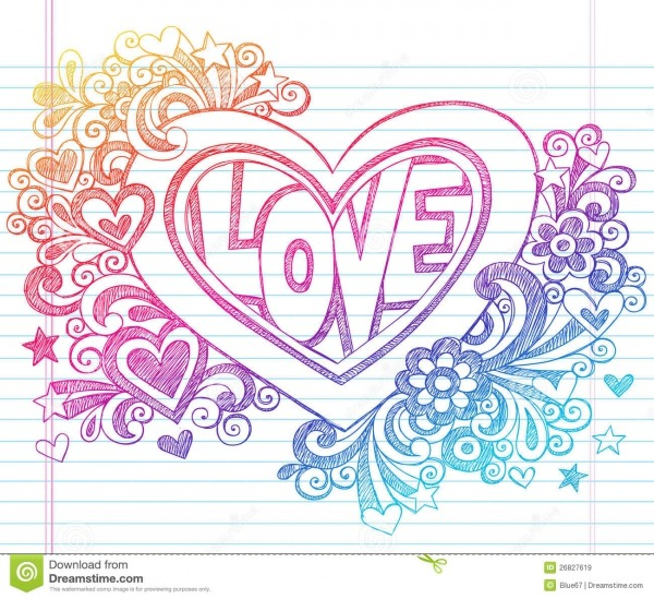 O Caderno Esboçado Do Amor Doodles O Coração Com Flores V