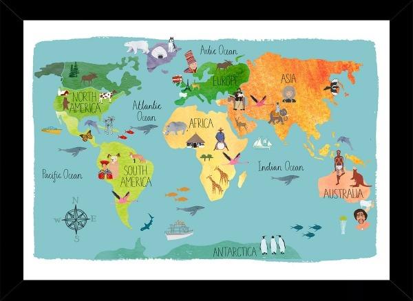 Quadro Mapa Mundi Bussola Tamanho 35x25cm C Vidro