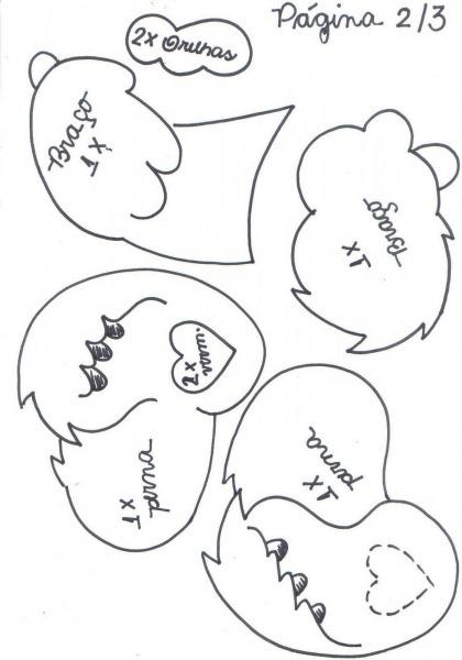 Molde Ursinhos Carinhosos Eva