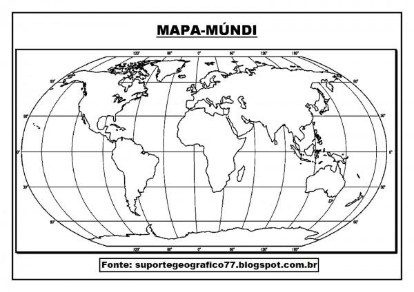 Suporte Geográfico  Mapa MÚndi Para Colorir