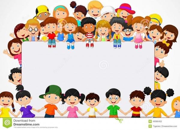 Desenhos Animados Das Crianças Da Multidão Com Sinal Vazio