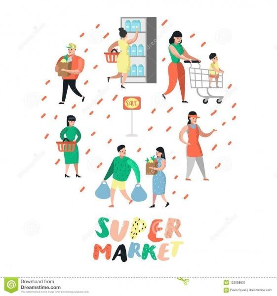 Caráteres Dos Povos Que Compram No Supermercado Com Sacos E Carros