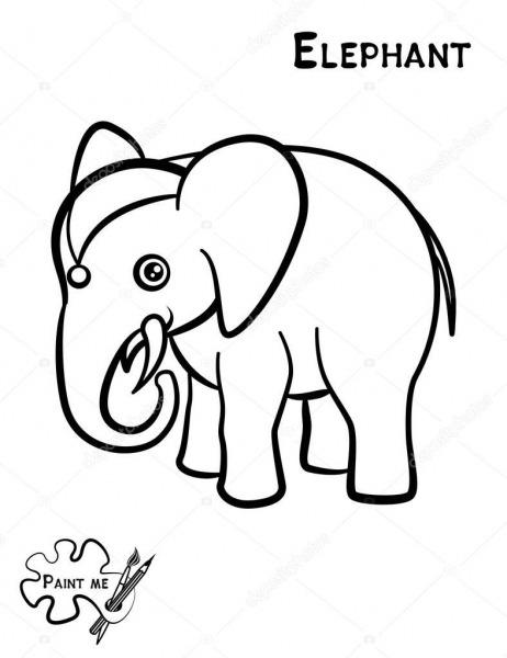 Livro De Colorir Infantil Que Diz Me Pintar  Elefante — Vetores De