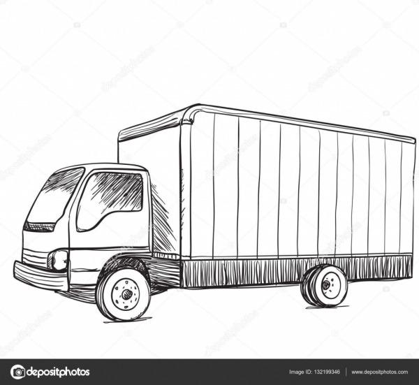Desenho De Caminhão  Ilustração De Mão Desenhada — Vetores De
