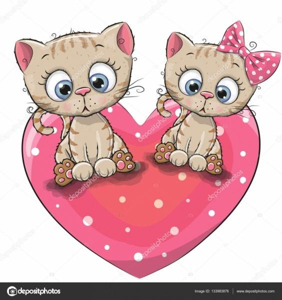 Dois Gatinhos Bonitos Dos Desenhos Animados — Vetores De Stock
