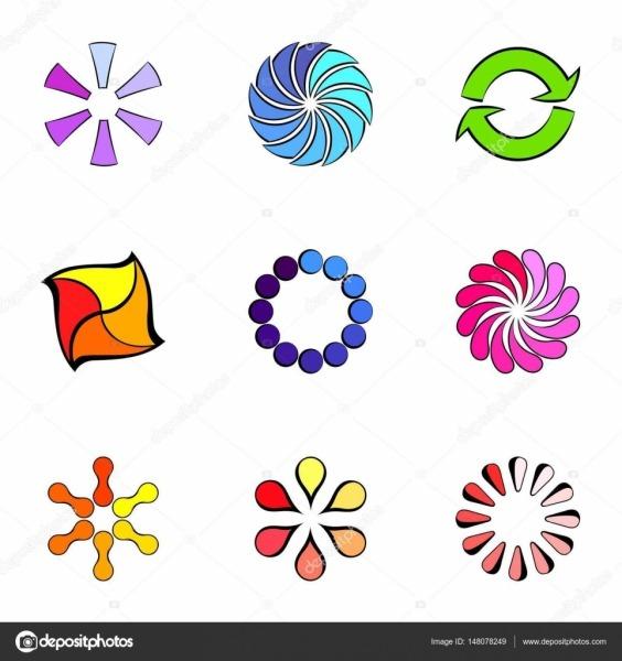 Rodada De Conjunto De ícones De Figuras, Desenhos Animados Estilo