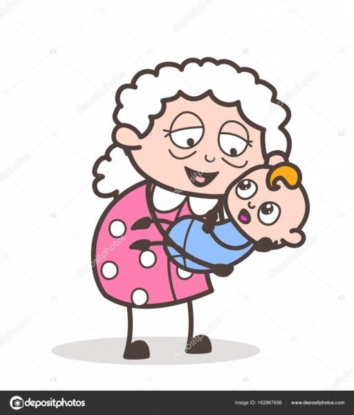 Desenhos Animados Avó Levantou Um Bebê No Colo Vetor Gráfico