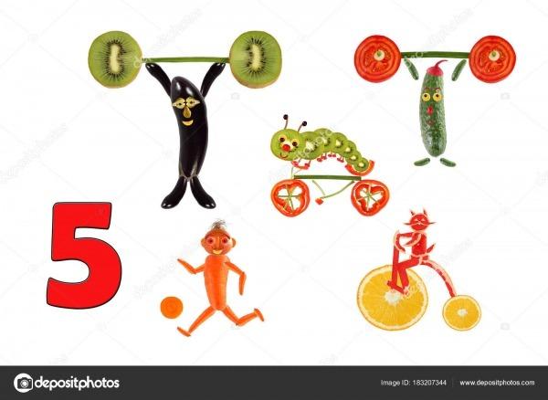 Aprendendo A Contar  Desenhos Animados Figuras De Vegetais E