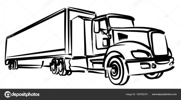 Desenho Caminhão Longo — Vetores De Stock © Designer_an  185782070