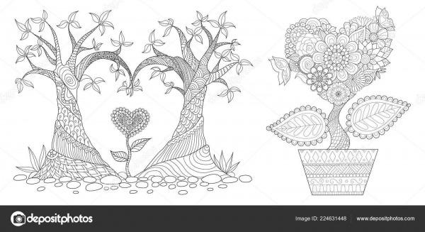 Coração Shap Flores Árvores Para Velentines Cartão Convite